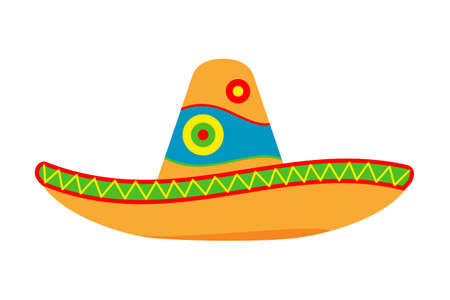 Colorful cartoon mexican hat. Fiesta carnival clothing. Mexico theme vector illustration for icon, stamp, label, badge, certificate, leaflet, poster, brochure or banner decoration