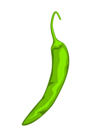 Cartoon green hot pepper. Spicy food seasoning. Mexico theme vector illustration for icon, stamp, label, badge, certificate, leaflet, brochure or banner decoration Illustration