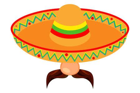 Avatar de hombre mexicano de dibujos animados coloridos. Fiesta carnaval sombrero y bigote. Ilustración de vector de tema de México para decoración de icono, sello, etiqueta, insignia, certificado, folleto, folleto o banner Ilustración de vector