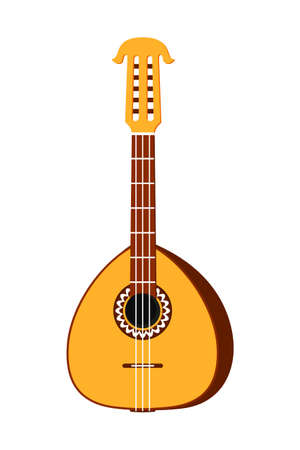 Colorful cartoon lute. String musical instrument. Mexico theme vector illustration for icon, stamp, label, badge, certificate, leaflet, brochure or banner decoration