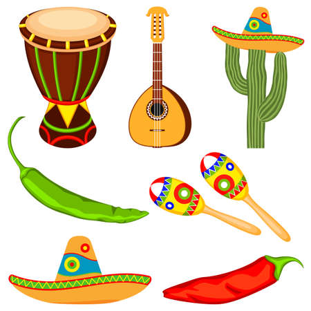 Colorful cartoon mexican music set. Fiesta carnival elements. Mexico theme vector illustration for icon, stamp, label, badge, certificate, leaflet, brochure or banner decoration