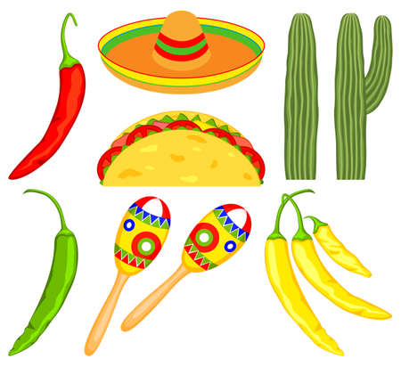 8 colorful cartoon mexican elements. Fiesta carnival set. Mexico theme vector illustration for icon, stamp, label, badge, certificate, leaflet, brochure or banner decoration Ilustración de vector