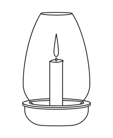 Line art black and white dinner candle. Wedding dinner decor. St. Valentine day themed vector illustration for icon, stamp, label, badge, certificate, gift card, poster or banner decoration