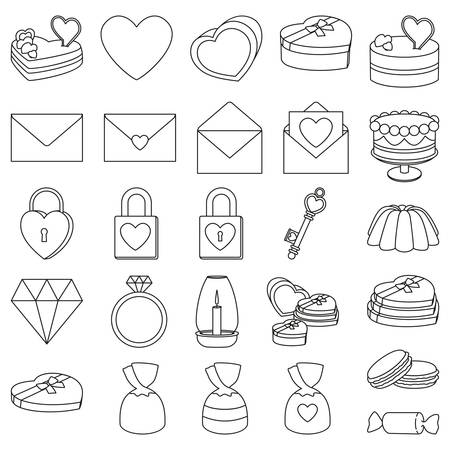 Line art black and white 26 valentine elements. Romantic date invitation decor. Love themed vector illustration for icon, stamp, label, certificate, brochure, gift card, poster or banner decoration Illustration