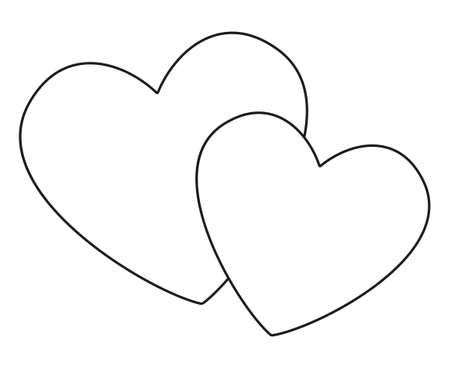 Line art black and white pair of loving hearts. Happy marriage symbol. St. Valentine day themed vector illustration for icon, stamp, label, badge, certificate, gift card, poster or banner decoration Ilustração