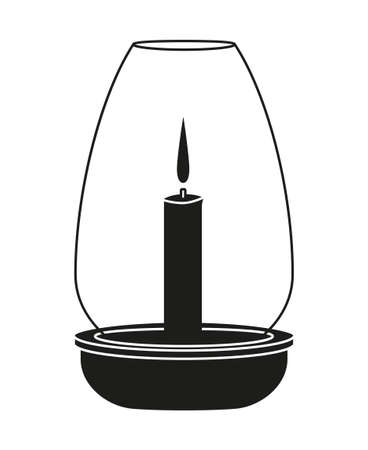 Black and white dinner candle silhouette. Wedding dinner decor. St. Valentine day themed vector illustration for icon, stamp, label, badge, certificate, gift card, poster or banner decoration