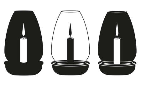 Black and white dinner candle silhouette set. Wedding dinner decor. St. Valentine day themed vector illustration for icon, stamp, label, badge, certificate, gift card, poster or banner decoration Illustration