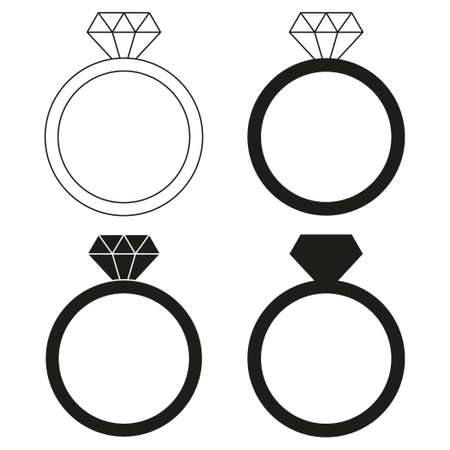 Black and white diamond ring silhouette set. Wedding proposal symbol. St Valentine day themed vector illustration for icon, stamp, label, badge, certificate, brochure, gift card, poster or banner decoration