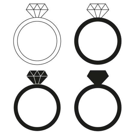 Insieme della siluetta dell'anello di diamante bianco e nero. Simbolo della proposta di matrimonio. Illustrazione vettoriale a tema San Valentino per la decorazione di icone, francobolli, etichette, badge, certificati, brochure, carte regalo, poster o banner