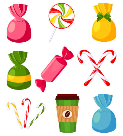 Colorful cartoon candy set. Sweet comfort food. Valentine day themed vector illustration for icon, stamp, label, badge, certificate, card, poster or banner decoration
