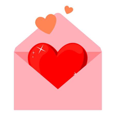 Sobre rosa de dibujos animados coloridos con corazón. Abra la tarjeta de felicitación del mensaje de amor. Ilustración vectorial temática del día de San Valentín para decoración de iconos, sellos, etiquetas, distintivos, certificados, carteles o pancartas Ilustración de vector