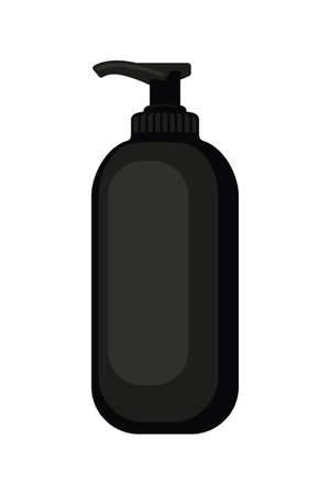 Cartoon black liquid soap bottle. St valentine gift for woman. Beauty themed vector illustration for stamp, label, certificate, badge, brochure card, coupon or banner decoration