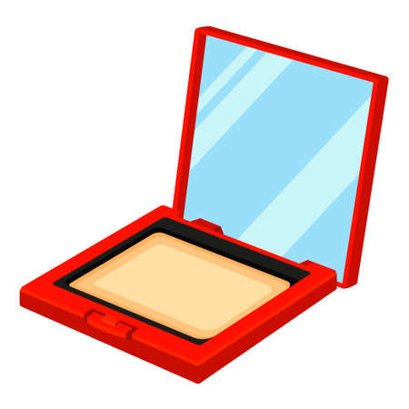 Colorful cartoon compact blusher powder. St valentine gift for woman. Beauty themed vector illustration for icon, stamp, label, certificate, badge, brochure card, coupon or banner decoration Vektoros illusztráció