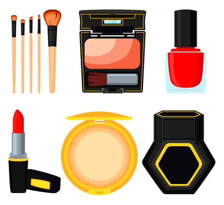 Colorful cartoon daily care cosmetic set. Valentine gift for woman. Beauty themed vector illustration for stamp, label, certificate, badge, brochure, card, poster, coupon or banner decoration
