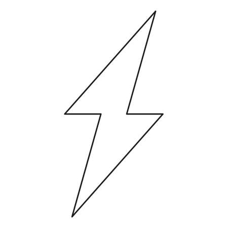 Line art black and white lightning. Power energy symbol. Electricity themed vector illustration for icon, stamp, label, certificate, brochure, gift card, poster, coupon or banner background decoration