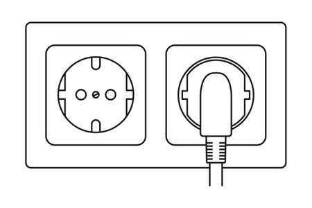 Line art black and white plug in and unplug electric socket. Euro standard F type. Electricity themed vector illustration for icon, label, brochure, gift card, poster or banner background decoration Ilustrace