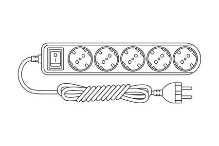 Line art black and white electric extension cord. Euro standard F type socket. Electricity themed vector illustration for icon, stamp, label, certificate, brochure, card, poster or banner decoration Ilustrace