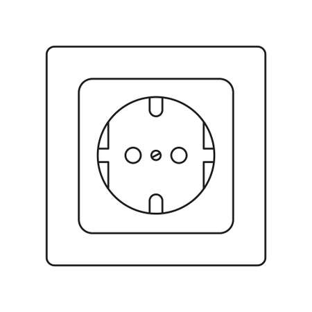 Line art black and white F type electric socket. Euro standard. Electricity themed vector illustration for icon, stamp, label, certificate, brochure, gift card, poster or banner background decoration Ilustrace