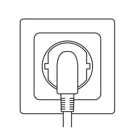 Line art black and white plug in electric socket. Euro standard F type. Electricity themed vector illustration for icon, stamp, label, certificate, brochure, gift card, poster or banner decoration Ilustrace
