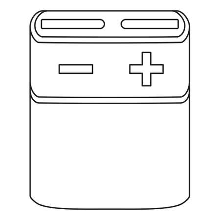 Line art black and white 3R12 type battery. Rechargeable electric accumulator. Electricity themed vector illustration for icon, stamp, label, brochure, gift card, poster or banner decoration