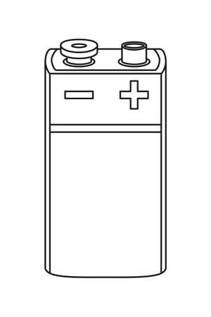 Line art black and white PP3 type battery. Rechargeable electric accumulator. Electricity themed vector illustration for icon, stamp, label, brochure, gift card, poster or banner background decoration