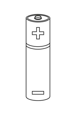 Line art black and white AA type battery. Rechargeable electric accumulator. Electricity themed vector illustration for icon, stamp, label, brochure, gift card, poster or banner background decoration Illustration