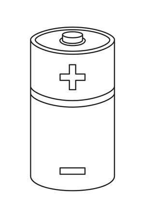 Line art black and white D type battery. Rechargeable electric accumulator. Electricity themed vector illustration for icon, stamp, label, brochure, gift card, poster or banner background decoration