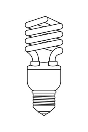 Line art black and white fluorescent light bulb. Electricity themed vector illustration for icon, stamp, label, certificate, brochure, gift card, poster, coupon or banner background decoration
