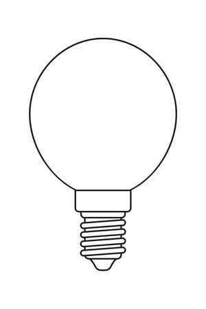 Line art black and white light orb bulb. Incandescent lamp. Electricity themed vector illustration for icon, stamp, label, certificate, brochure, gift card, poster, coupon or banner decoration