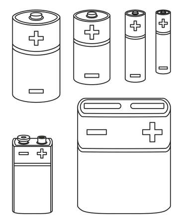 Line art black and white battery collection Different type rechargeable electric accumulators. Electricity themed vector illustration for icon, stamp, gift card, poster or banner background decoration