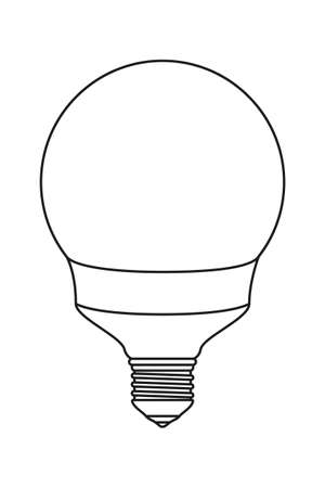 Line art black and white light orb lamp. Electricity themed vector illustration for icon, stamp, label, certificate, brochure, gift card, poster, coupon or banner background decoration