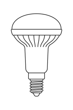 Line art black and white halogen light bulb. Electricity themed vector illustration for icon, stamp, label, certificate, brochure, gift card, poster, coupon or banner background decoration
