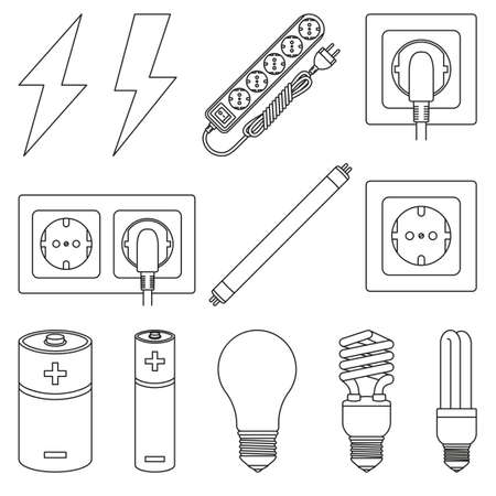 12 line art black and white electric elements set. Lightning, light bulb and plug in socket. Electricity themed vector illustration for icon, label, certificate, brochure, coupon or banner decoration 일러스트