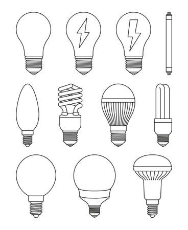 11 line art black and white light bulb set. Incandescent, fluorescent, halogen lamp and neon tube. Electricity themed vector illustration for icon, stamp, certificate, banner, coupon background decora 일러스트