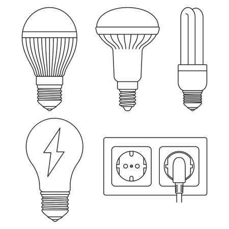 5 line art black and white electric elements set. Light bulb and plug in socket. Electricity themed vector illustration for icon, label, certificate, brochure, coupon or banner decoration