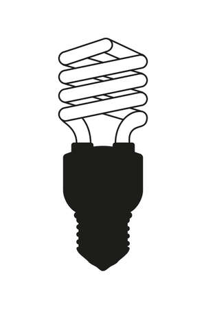 Black and white fluorescent light bulb. Electricity themed vector illustration for icon, stamp, label, certificate, brochure, gift card, poster, coupon or banner background decoration