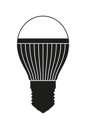 Black and white light bulb. Halogen lamp. Electricity themed vector illustration for icon, stamp, label, certificate, brochure, gift card, poster, coupon or banner background decoration