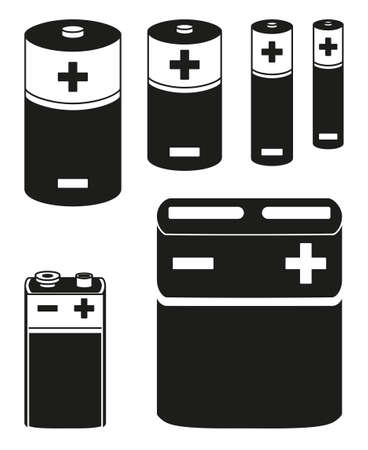 Black and white battery collection Different type rechargeable electric accumulators. Electricity themed vector illustration for icon, stamp, gift card, poster or banner background decoration