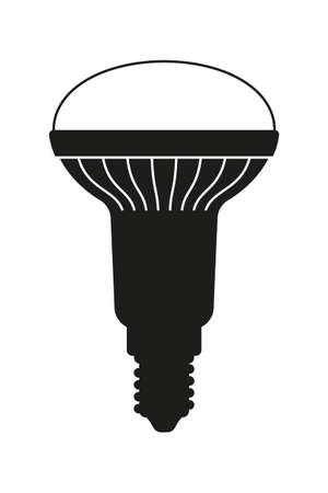 Black and white halogen light bulb. Electricity themed vector illustration for icon, stamp, label, certificate, brochure, gift card, poster, coupon or banner background decoration