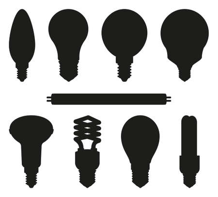 Black and white light bulb silhouette set. Incandescent, fluorescent, halogen lamp and neon tube. Electricity themed vector illustration for icon, certificate, banner, coupon background decoration