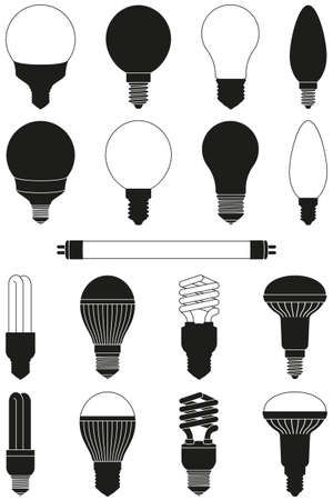 17 black and white light bulb set. Incandescent, fluorescent, halogen lamp and neon tube. Electricity themed vector illustration for icon, stamp, certificate, banner, coupon background decoration