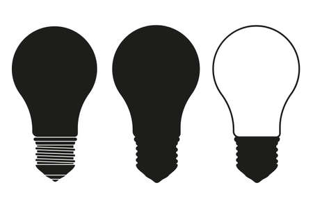 Black and white light bulb set. On and off incandescent lamp. Electricity themed vector illustration for icon, label, certificate, brochure, gift card, poster, coupon or banner background decoration