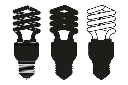 Black and white fluorescent on and off light bulb set. Electricity themed vector illustration for icon, stamp, label, certificate, brochure, gift card, poster, coupon or banner background decoration Ilustração