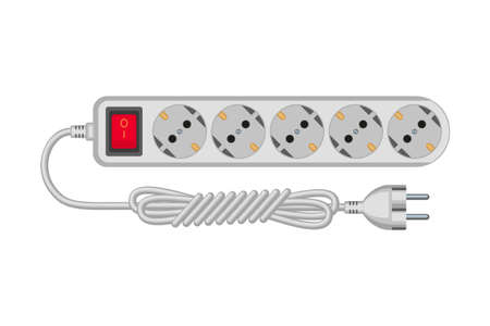 Cartoon gray electric extension cord. Euro standard F type socket. Electricity themed vector illustration for icon, stamp, label, certificate, brochure, card, poster or banner decoration