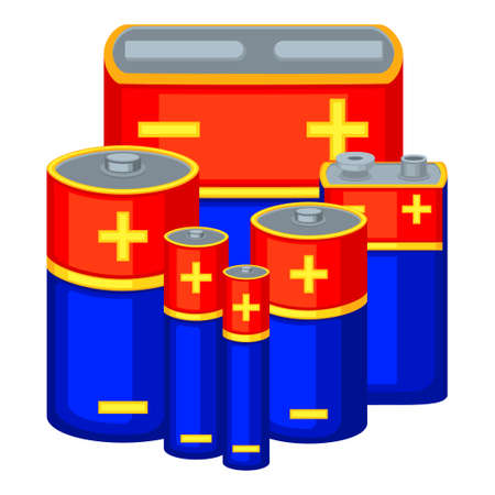 Colorful cartoon battery set. Different type rechargeable electric accumulators Electricity themed vector illustration for icon, stamp, label, gift card, poster or banner background decoration
