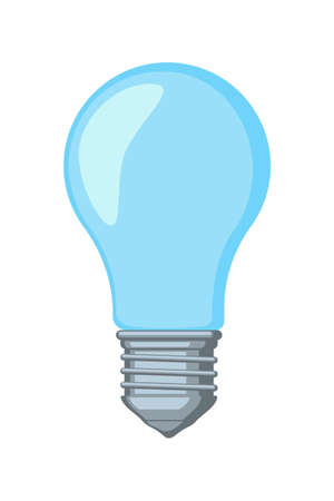 Colorful cartoon light bulb. Incandescent lamp. Electricity themed vector illustration for icon, stamp, label, certificate, brochure, gift card, poster, coupon or banner background decoration