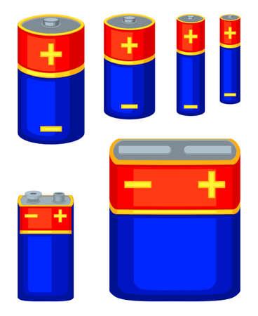 Colección de baterías de dibujos animados coloridos Acumuladores eléctricos recargables de diferentes tipos. Ilustración vectorial temática de electricidad para decoración de fondo de icono, sello, tarjeta de regalo, cartel o banner Ilustración de vector