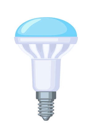 Colorful cartoon halogen light bulb. Electricity themed vector illustration for icon, stamp, label, certificate, brochure, gift card, poster, coupon or banner background decoration