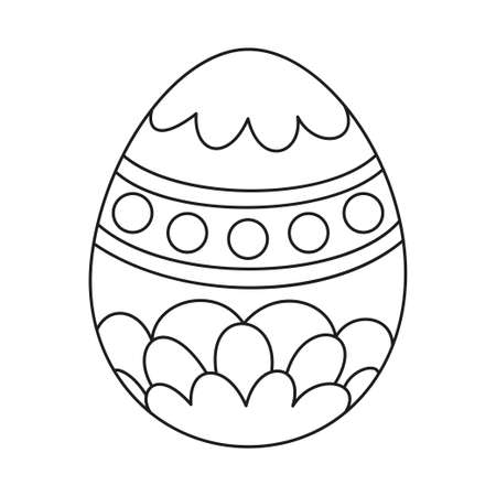Line art black and white painted easter egg. Holiday christianity symbol. Easter themed vector illustration for icon, stamp, label, certificate, brochure, gift card, poster, coupon or banner decoration