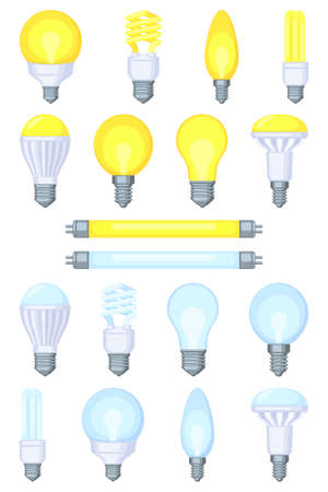 18 colorful cartoon light bulb set. Incandescent, fluorescent, halogen lamp and neon tube. Warm and cold light. Electricity themed vector illustration for stamp, certificate, banner, coupon decoration Ilustrace